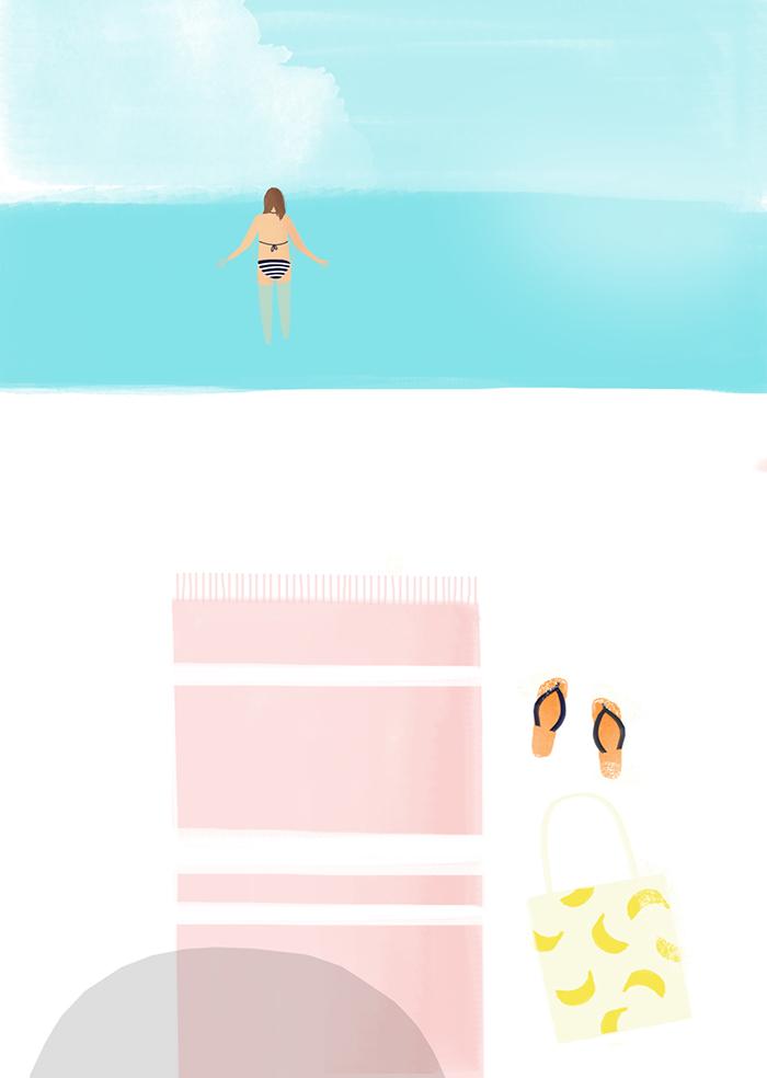 Karen Weening Summer Swimming Beach Postcard HappyMakersBlog