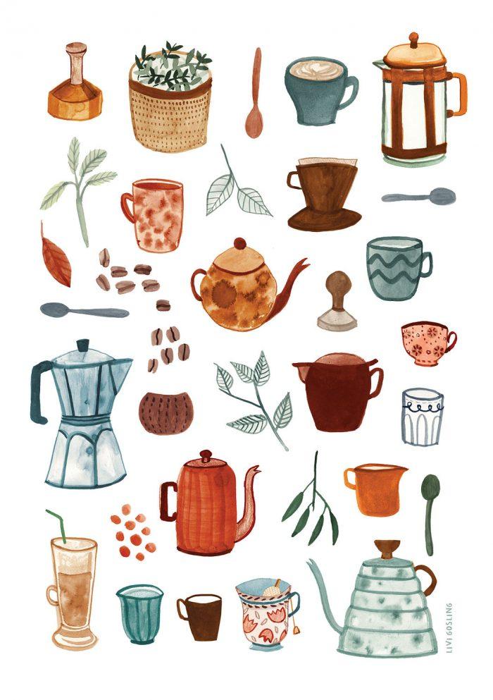 Livi Gosling illustration coffee tea stationery HappyMakersBlog